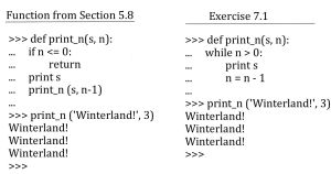Exercise 7.1) Print_n using a while statement