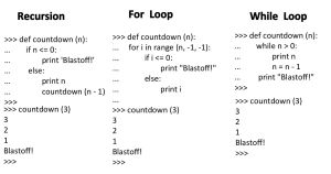 Recursion versus For Loop versus While Loop